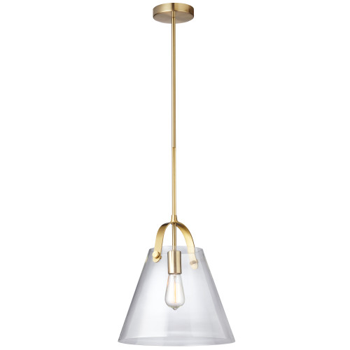 Dainolite Lighting  871P-AGB 1 Light Incandescent Pendant Aged Brass Finish with Clear Glass
