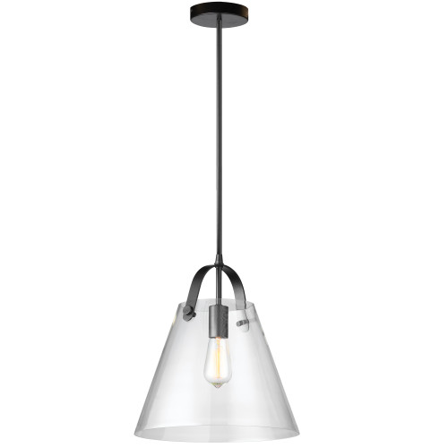 Dainolite Lighting  871P-BK 1 Light Incandescent Pendant Matte Black Finish with Clear Glass