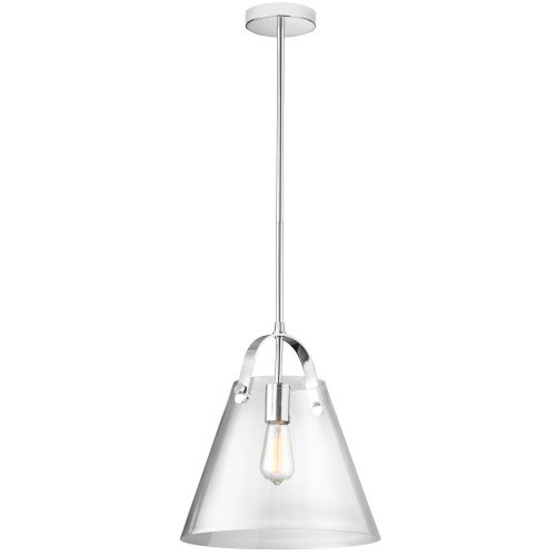 Dainolite Lighting  871P-PC 1 Light Incandescent Pendant Polished Chrome Finish with Clear Glass