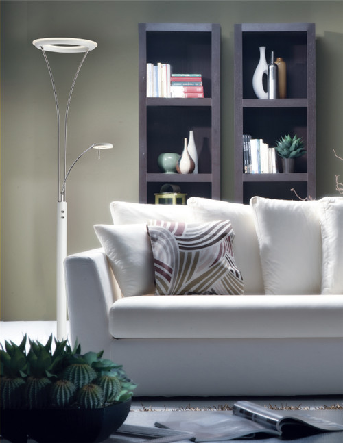Dainolite Lighting  892LEDF-WH-CH Mother & Son LED Floor Lamp, White & Chrome