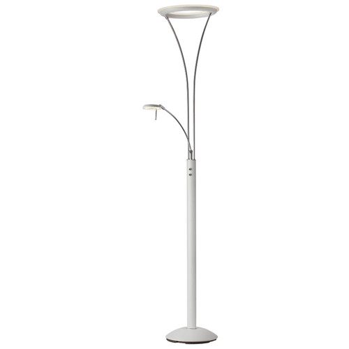 Dainolite Lighting  892LEDF-WH-CH Mother & Son LED Floor Lamp, White & Chrome
