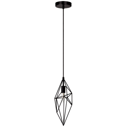 Dainolite Lighting  918-1P-BK 1 Light Incandescent Pendant, Black Finish