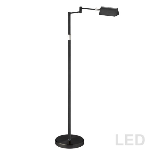 Dainolite Lighting  9257LEDF-BK 9W LED Swing Arm Floor Lamp, Black Finish