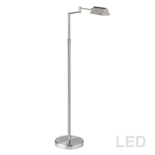 Dainolite Lighting  9257LEDF-SN 9W LED Swing Arm Floor Lamp, Satin Nickel Finish