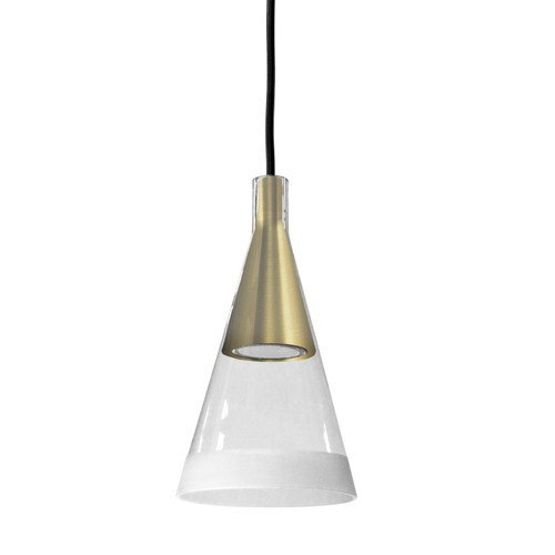 Dainolite Lighting  938-1P-AGB 1 Light Halogen Pendant Aged Brass Finish with Clear and Frosted Trim Glass
