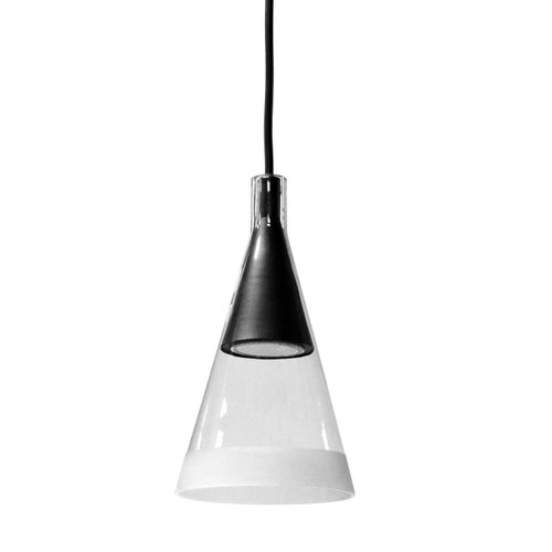 Dainolite Lighting  938-1P-MB 1 Light Halogen Pendant Matte Black Finish with Clear and Frosted Trim Glass