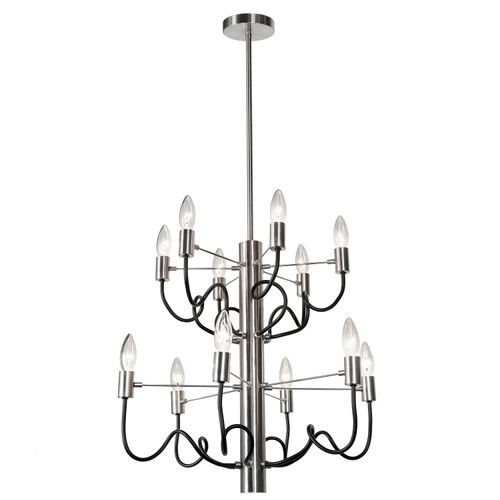Dainolite Lighting  ABA-2012C-SC-MB 12 Light Chandelier, Satin Chrome Finish with Matte Black Twisted Arms