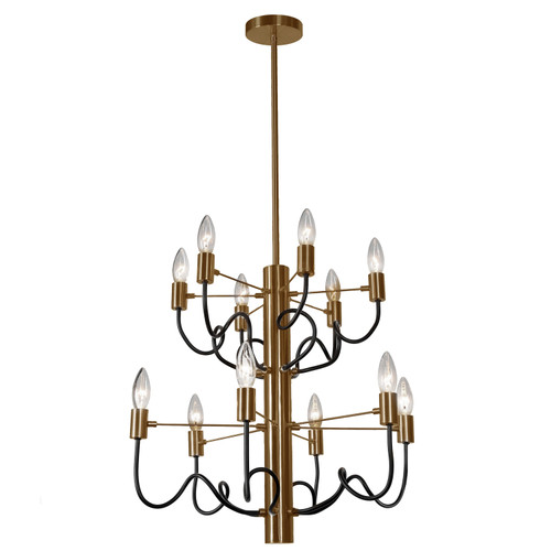 Dainolite Lighting  ABA-2012C-VB-MB 12 Light Chandelier, Vintage Bronze Finish with Matte Black Twisted Arms