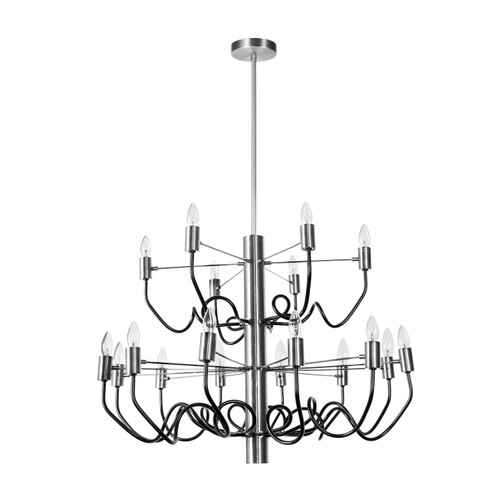 Dainolite Lighting  ABA-2818C-SC-MB 18 Light Chandelier, Satin Chrome Finish with Matte Black Twisted Arms