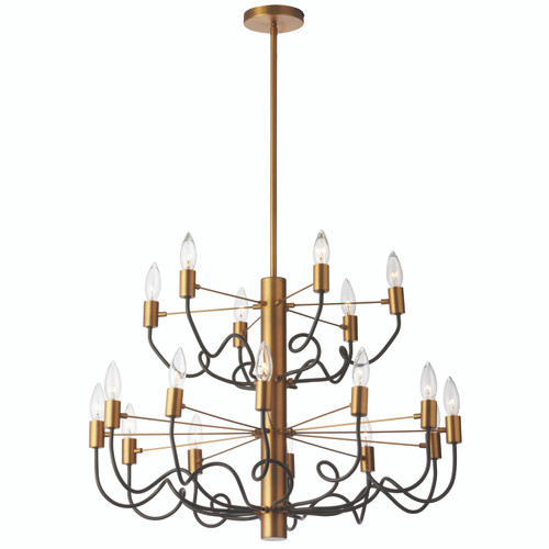 Dainolite Lighting  ABA-2818C-VB-MB 18 Light Chandelier, Vintage Bronze Finish with Matte Black Twisted Arms