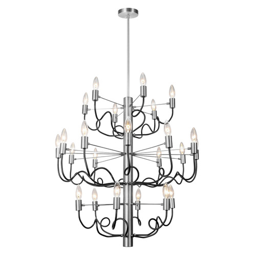 Dainolite Lighting  ABA-2824C-SC-MB 24 Light Chandelier, Satin Chrome Finish with Matte Black Twisted Arms