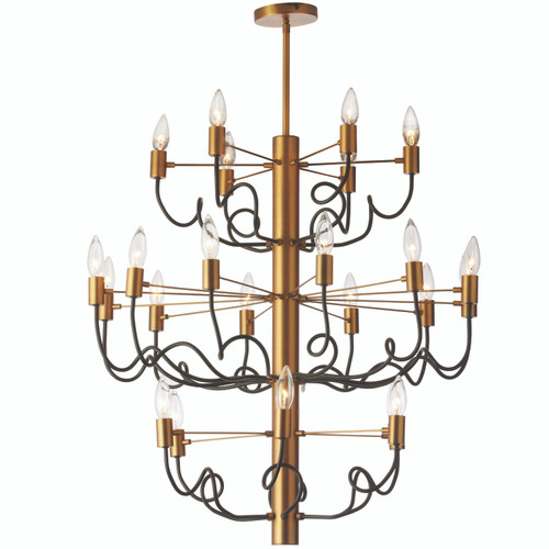 Dainolite Lighting  ABA-2824C-VB-MB 24 Light Chandelier, Vintage Bronze Finish with Matte Black Twisted Arms