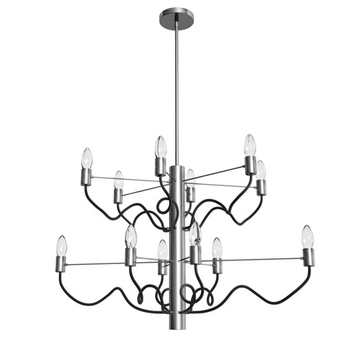 Dainolite Lighting  ABA-3212C-SC-MB 12 Light Oval Chandelier, Satin Chrome Finish with Matte Black Twisted Arms