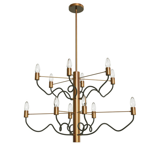 Dainolite Lighting  ABA-3212C-VB-MB 12 Light Oval Chandelier, Vintage Bronze Finish with Matte Black Twisted Arms