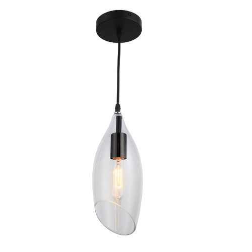 Dainolite Lighting  ABB-61P-CL 1 Light Incandescent Pendant, Black Finish with Clear Glass