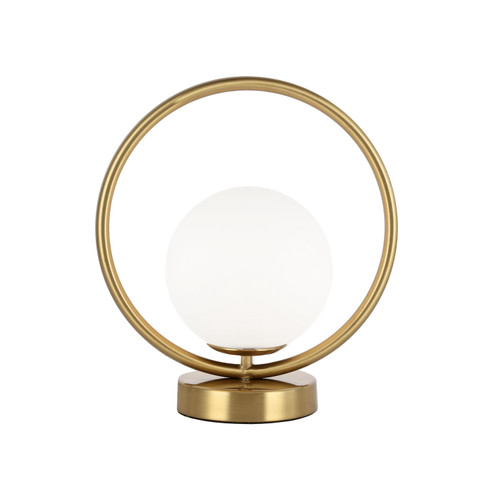 Dainolite Lighting  ADR-101T-AGB 1 Light Halogen Table Lamp Aged Brass Finish with White Glass