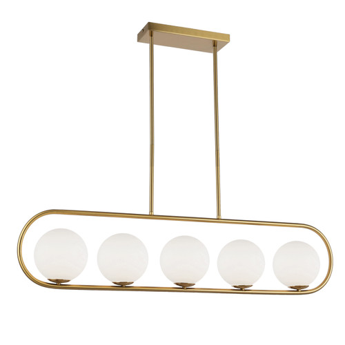 Dainolite Lighting  ADR-405HP-AGB 5 Light Halogen Horizontal Pendant Aged Brass Finish with White Glass