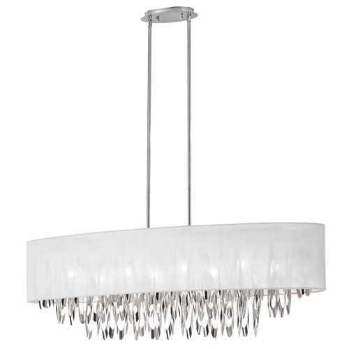 Dainolite Lighting  ALL-448C-PC-WH 8 Light  Oval Chandelier with White Shade Polished Chrome Finish