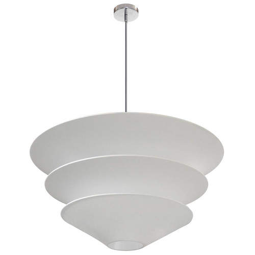 Dainolite Lighting  ALO-4P-PC-790 4 Light Alora Pendant White Shade, Polished Chrome