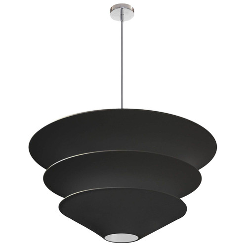 Dainolite Lighting  ALO-4P-PC-797 4 Light Alora Pendant, Black Shade, Polished Chrome