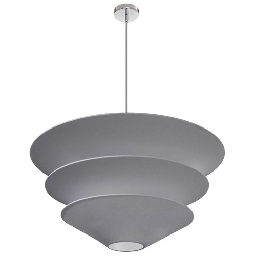 Dainolite Lighting  ALO-4P-PC-835 4 Light Alora Pendant Grey Shade, Polished Chrome