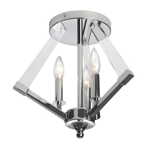 Dainolite Lighting  ALT-153SF-PC 3 Light Semi Flush Polished Chrome Bronze With Acrylic Arms
