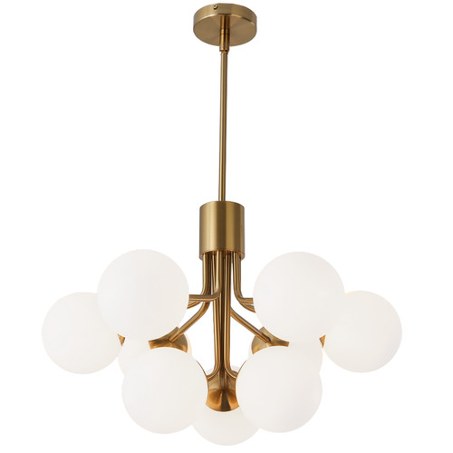 Dainolite Lighting  AMA-249C-AGB 9 Light Halogen Chandelier, Aged Brass with Opal Glass