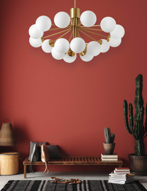 Dainolite Lighting  AMA-3618C-AGB 18 Light Halogen Chandelier, Aged Brass with Opal Glass