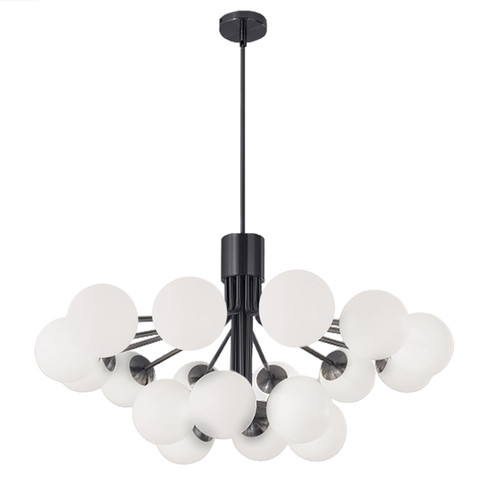 Dainolite Lighting  AMA-3618C-MB 18 Light Halogen Chandelier, Matte Black with Opal Glass