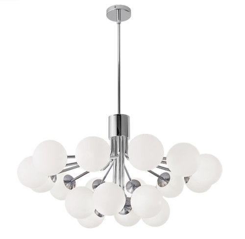 Dainolite Lighting  AMA-3618C-PC 18 Light Halogen Chandelier, Polished Chrome with Opal Glass