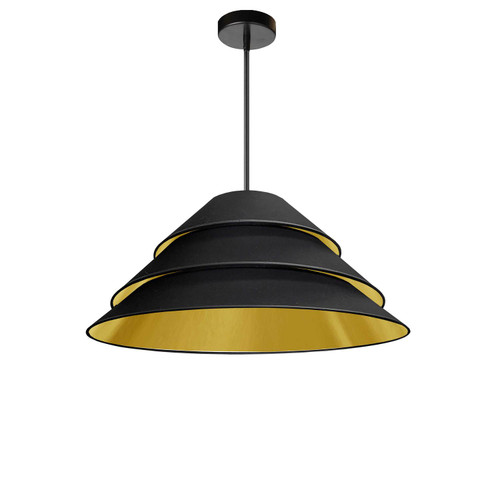Dainolite Lighting  ARA-1P-BK-698 1Light Aranza Pendant, Black/Gold Shade, Black