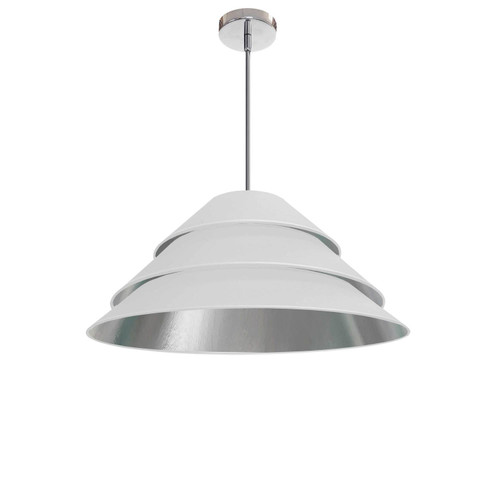 Dainolite Lighting  ARA-1P-PC-691 1Light Aranza Pendant, White/Silver Shade, Polished Chrome