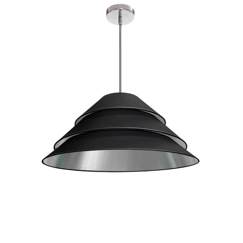 Dainolite Lighting  ARA-1P-PC-697 1Light Aranza Pendant, Black/Silver Shade, Polished Chrome
