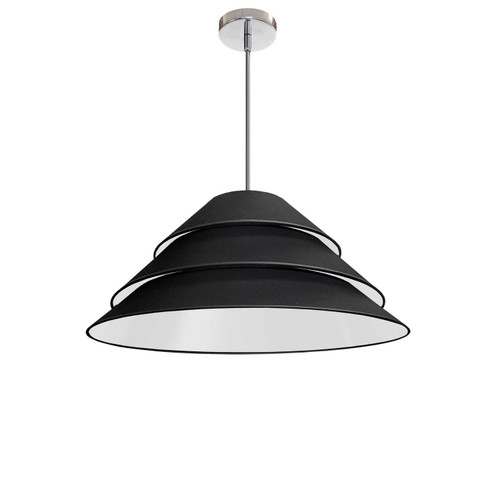 Dainolite Lighting  ARA-1P-PC-797 1Light Aranza Pendant, Black Shade, Polished Chrome