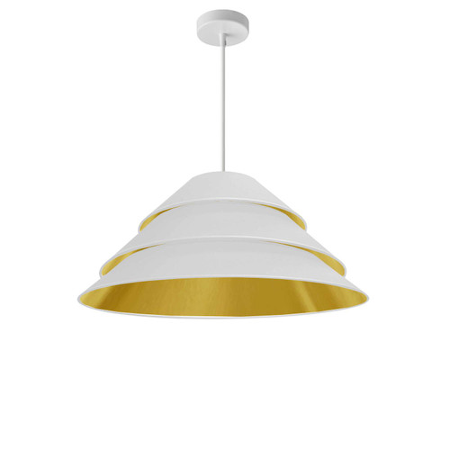 Dainolite Lighting  ARA-1P-WH-692 1Light Aranza Pendant, White/Gold Shade, White