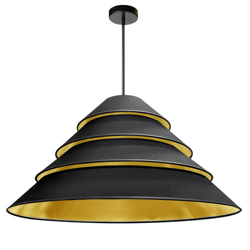 Dainolite Lighting  ARA-4P-BK-698 4Light Aranza Pendant, Black/Gold Shade, Black
