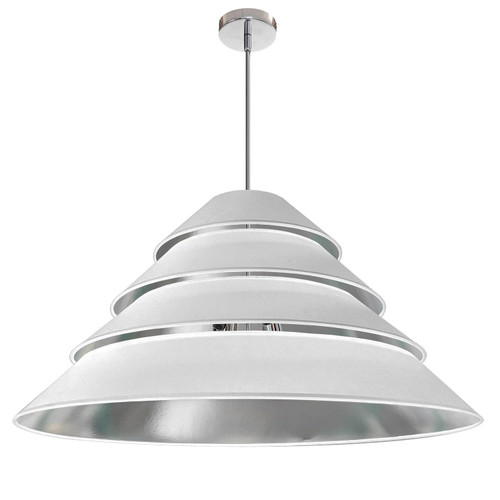 Dainolite Lighting  ARA-4P-PC-691 4Light Aranza Pendant, White/Silver Shade, Polished Chrome