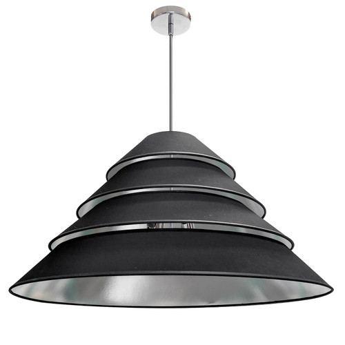 Dainolite Lighting  ARA-4P-PC-697 4Light Aranza Pendant, Black/Silver Shade, Polished Chrome