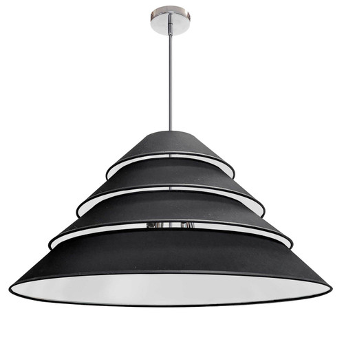 Dainolite Lighting  ARA-4P-PC-797 4Light Aranza Pendant, Black Shade, Polished Chrome
