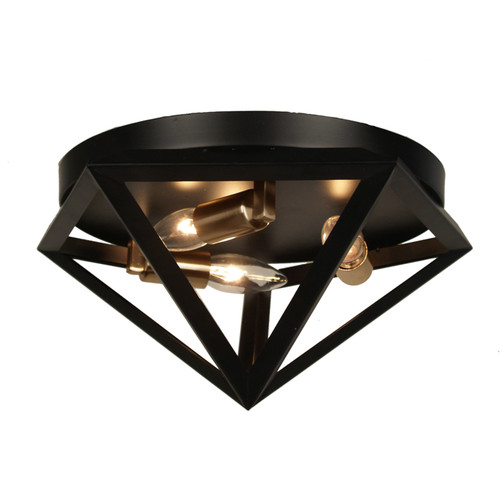 Dainolite Lighting  ARC-123FH-AB 3 Light Flush Mount Fixture, Matte Black with Antique Brass Accents