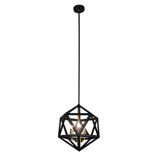 Dainolite Lighting  ARC-143C-AB 3 Light Chandelier, Matte Black with Antique Brass Accents