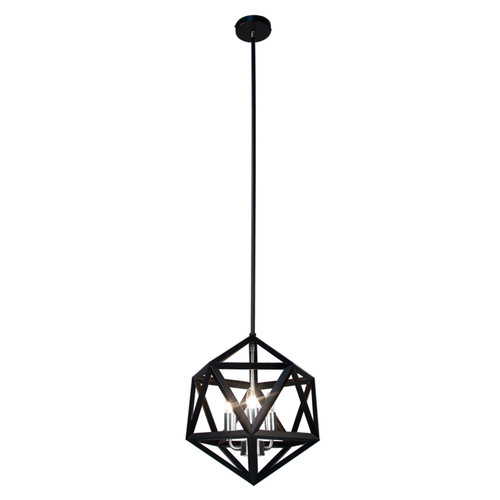 Dainolite Lighting  ARC-143C-SC 3 Light Chandelier, Matte Black with Satin Chrome Accents
