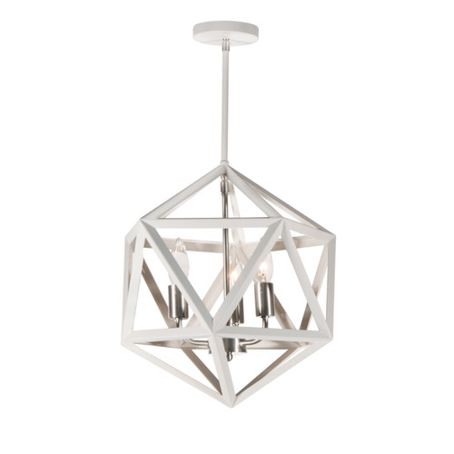 Dainolite Lighting  ARC-143C-WH-SC 3 Light Chandelier, Matte White with Satin Chrome Accents