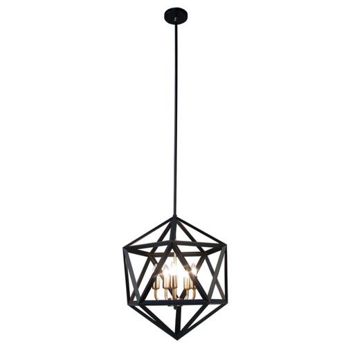 Dainolite Lighting  ARC-185C-AB 5 Light Chandelier, Matte Black with Antique Brass Accents