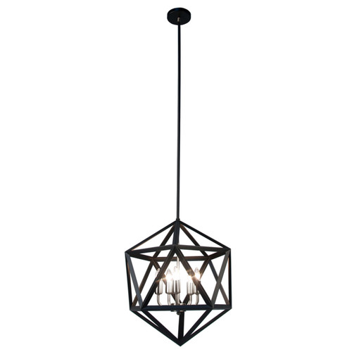 Dainolite Lighting  ARC-185C-SC 5 Light Chandelier, Matte Black with Satin Chrome Accents