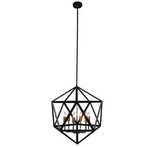 Dainolite Lighting  ARC-226C-AB 6 Light Chandelier, Matte Black with Antique Brass Accents