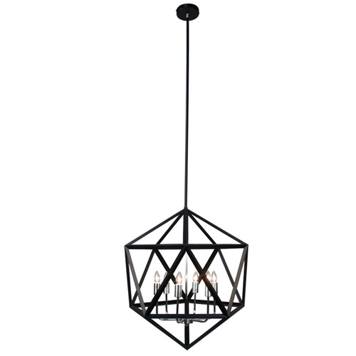 Dainolite Lighting  ARC-226C-SC 6 Light Chandelier, Matte Black with Satin Chrome Accents