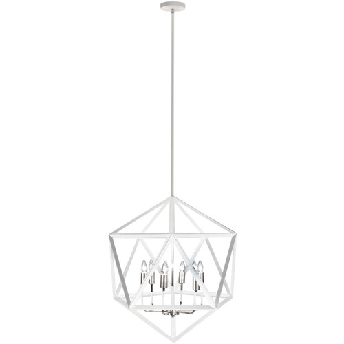 Dainolite Lighting  ARC-226C-WH-SC 6 Light Chandelier, Matte White with Satin Chrome Accents