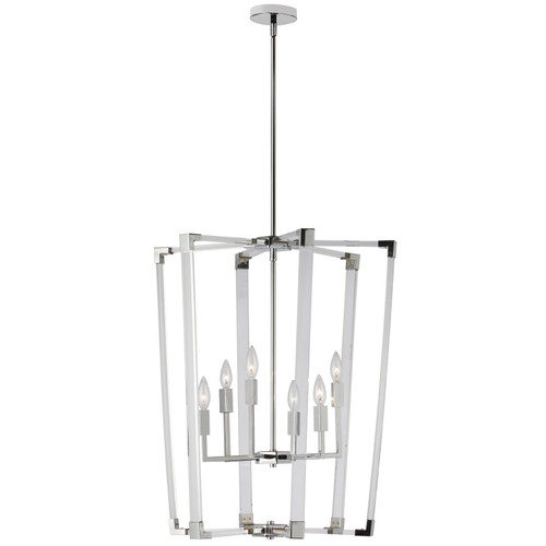Dainolite Lighting  ART-246P-PC 6 Light Incandescent Acrylic Pendant, Polished Chrome Finish with Clear Acrylic Arms