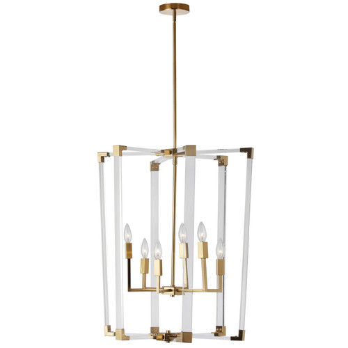Dainolite Lighting  ART-246P-VB 6 Light Incandescent Acrylic Pendant, Vintage Bronze Finish with Clear Acrylic Arms